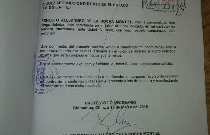 Entrega De la Rocha ante juez presidencia de ichitaip a Leyva