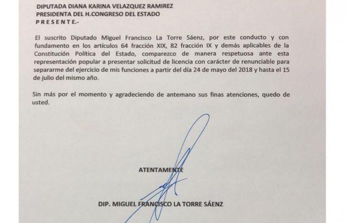 Miguel La Torre pide licencia al congreso