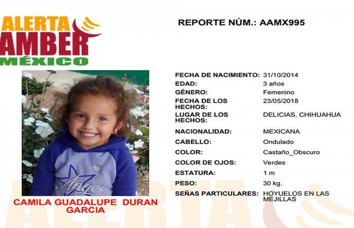 Sustraen a niña de tres años en Delicias, piden ayuda para localizarla