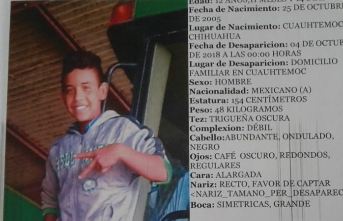 Buscan a menor desaparecido en Cuauhtémoc