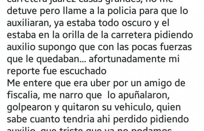 Tiran a conductor ensangrentado de Uber en la rúa Juárez Casas Grandes