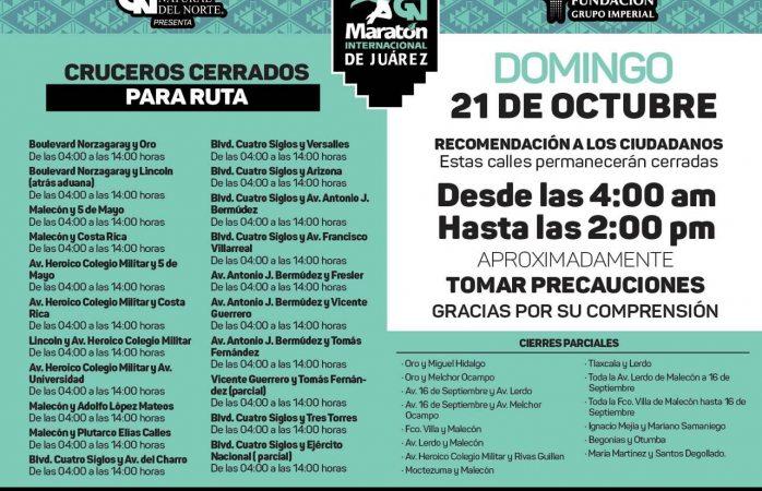 Cerrarán 21 cruceros y calles por maratón Internacional de ciudad Juárez