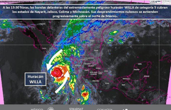 Van a tocar tierra mañana huracán willa y tormenta tropical vicente