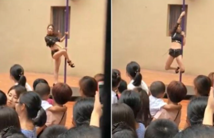 Inauguran kinder con show de  bailarina de tubo