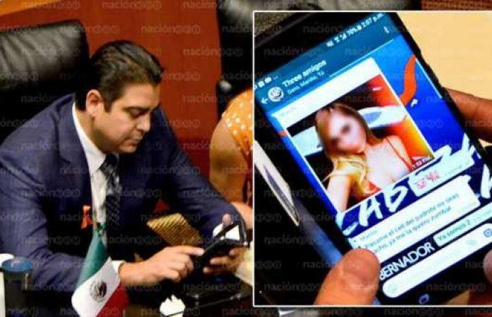Cachan a senador panista contratando a una prostituta en plena sesión
