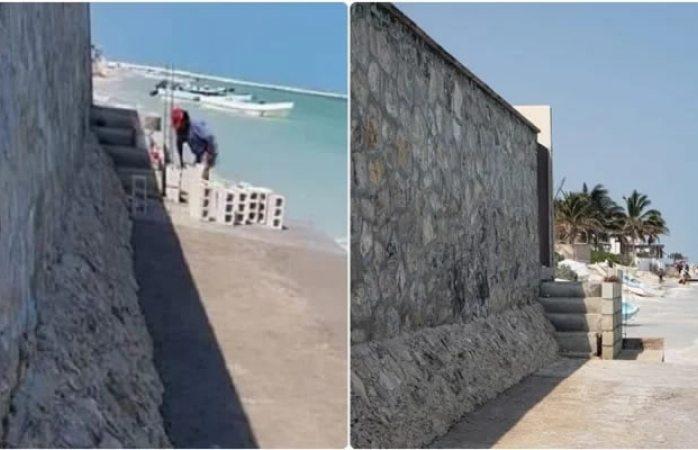 Construye muro en playa de Yucatán, no quiere ver a la gente en su casa
