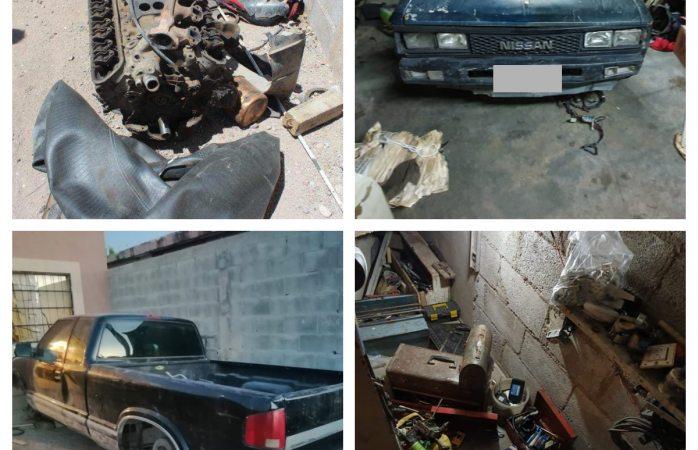 Aseguran vehículos, autopartes y herramienta para desmantelar