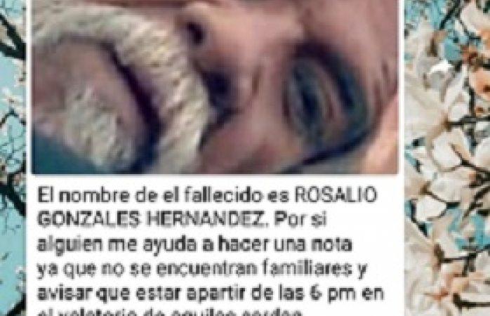 Buscan a familiares de Rosalío González