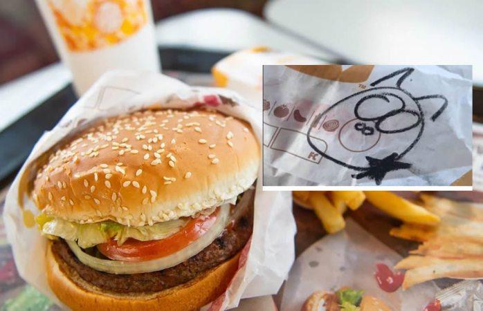 Oficial se queja de que en su hamburguesa venía dibujado un cerdo