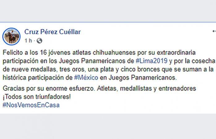 Felicita Pérez Cuellar a atletas chihuahuenses