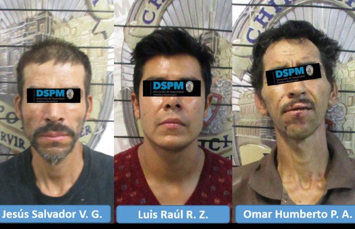 Caen tres hombres involucrados en diferentes robos