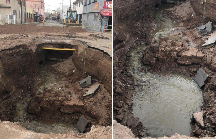 Colapsa obra de la jmas; dejan sin agua a negocios y viviendas del centro
