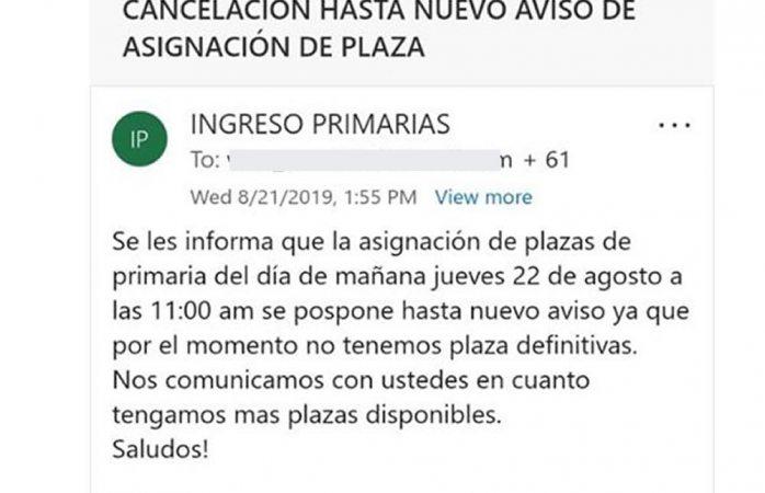 Cancelan entrega de 164 plazas de primaria
