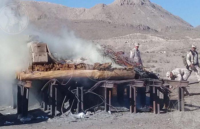 Incinera el ejército 624 kilogramos de droga decomisada