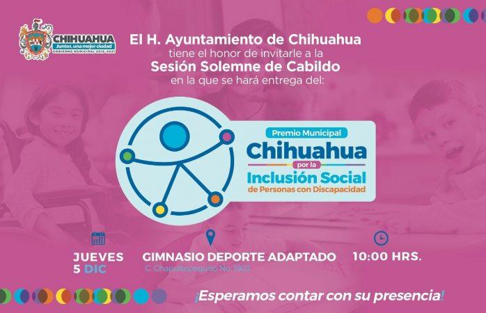 Entregará ayuntamiento premio por la inclusión social este jueves