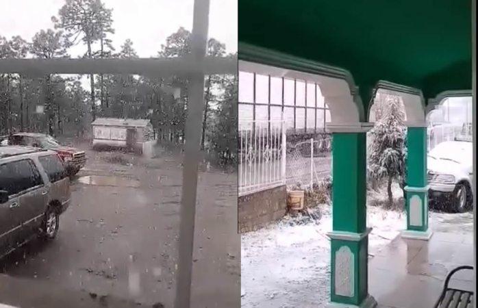 Cae nevada en Madera (VIDEO)
