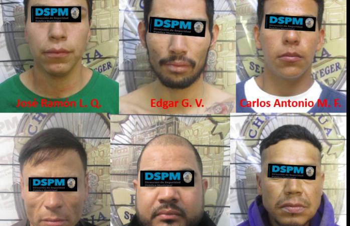 Detienen a seis presuntos autores de robos