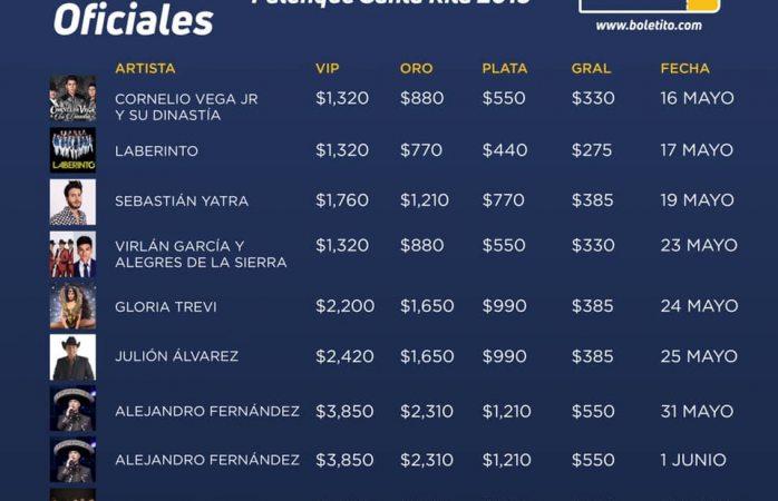 Checa los costos para el palenque de Santa Rita