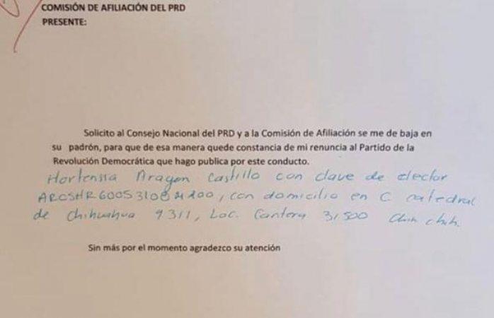 Renuncia al PRD Hortensia Aragón Castillo