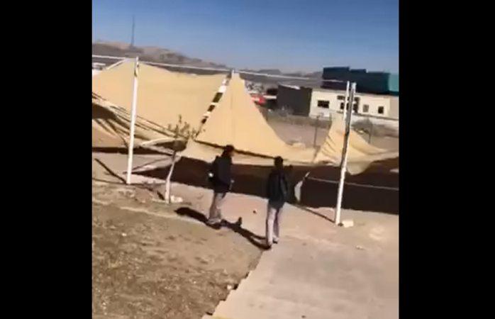 Ráfagas de viento derriban lona del Cobach 10