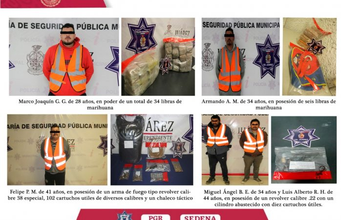 Detienen a 8, aseguran armas y droga en operativos conjuntos