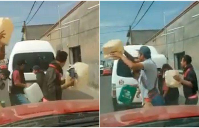 Viral: bailan payaso del rodeo con galones en mano en fila de gasolinera