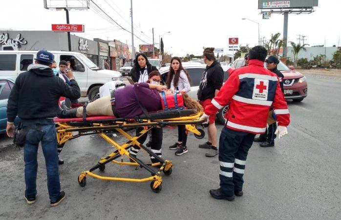 Queda mujer herida tras choque en san felipe