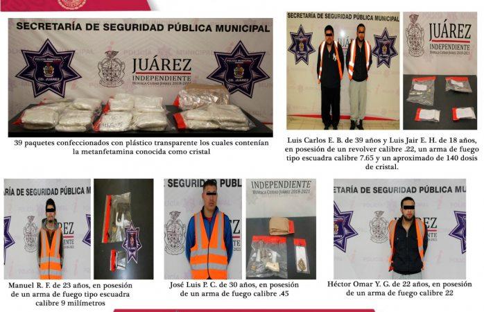 En acciones conjuntas detienen a 5, aseguran armas y droga