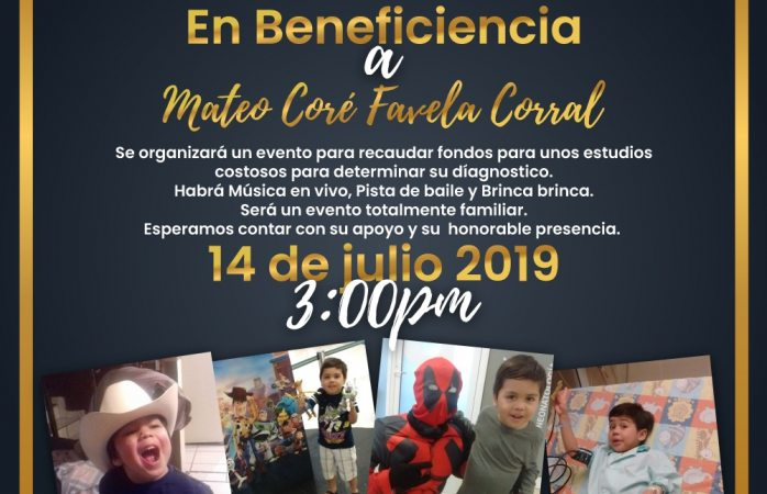 Invitan a evento familiar para a beneficio de Mateo
