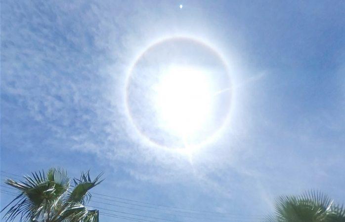 Sorprende halo solar en Juárez