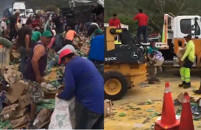 Rapiñan tráiler mientras chofer muere calcinado tras volcadura en Jalisco