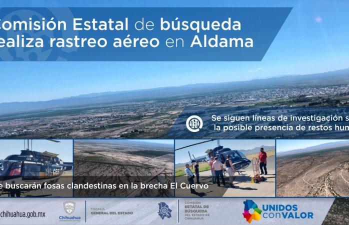 Realizan rastreo aéreo de fosas clandestinas en Aldama
