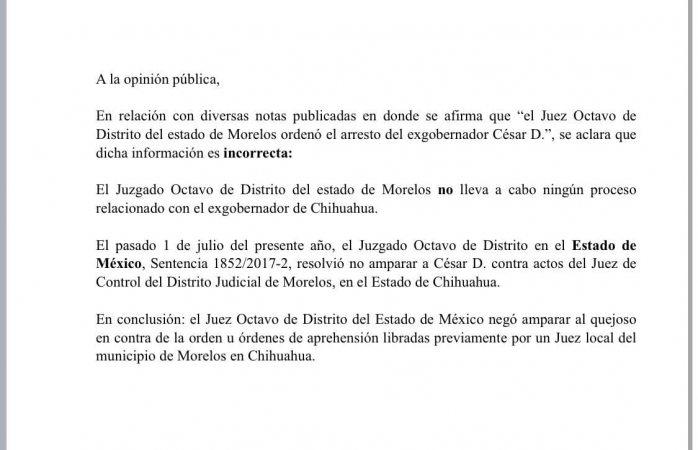 Juzgado federal niega haber ordenado arresto de César Duarte