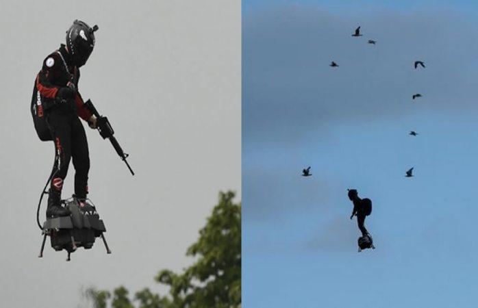 Francia presenta al soldado volador en desfile militar (VIDEO)