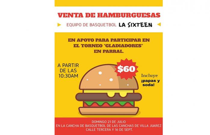 Hoy hamburguesada en apoyo a equipo que participara en torneo