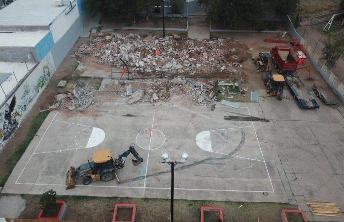 La destrucción del parque del santo niño desde el aire