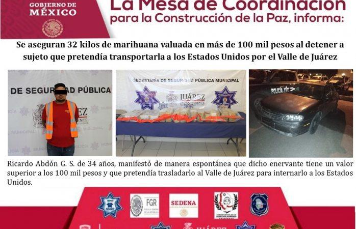 Aseguran 32 kilos de marihuana en valle de Juárez