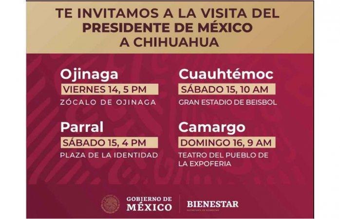 Visitará Amlo 4 ciudades en Chihuahua