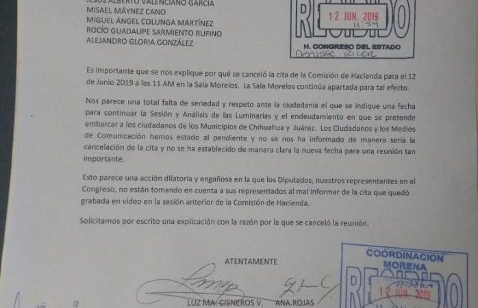 Cancela comisión de hacienda cita para discutir luminarias
