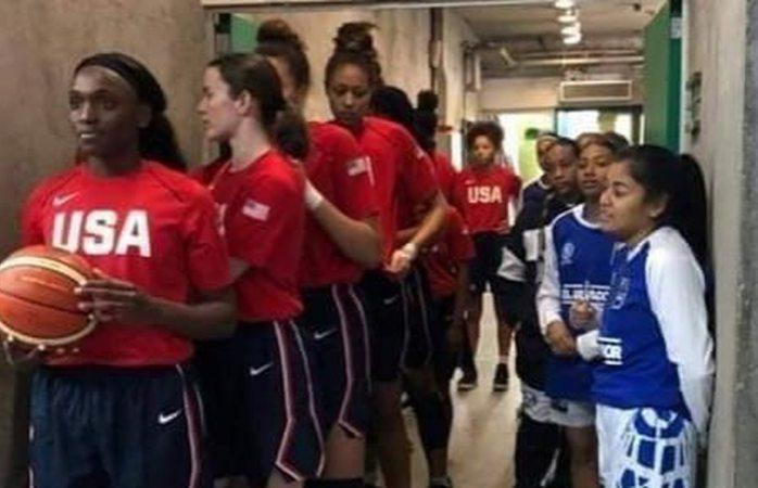 Se viraliza diferencia de estatura en equipos de basquetbol de EU y El Salvador