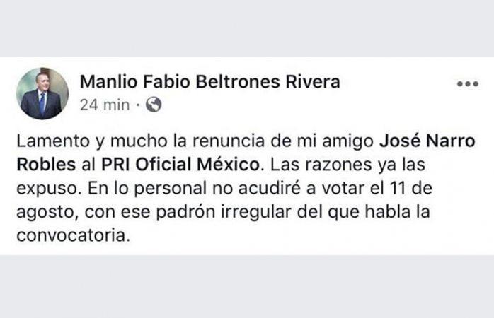 No votará Manlio Fabio por nuevo dirigente del PRI