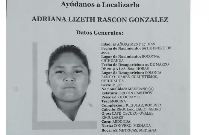 Buscan a adolescente desaparecida desde el 5 de marzo