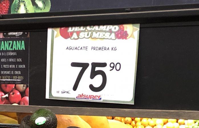 Venden kilo de aguacate en $75.90