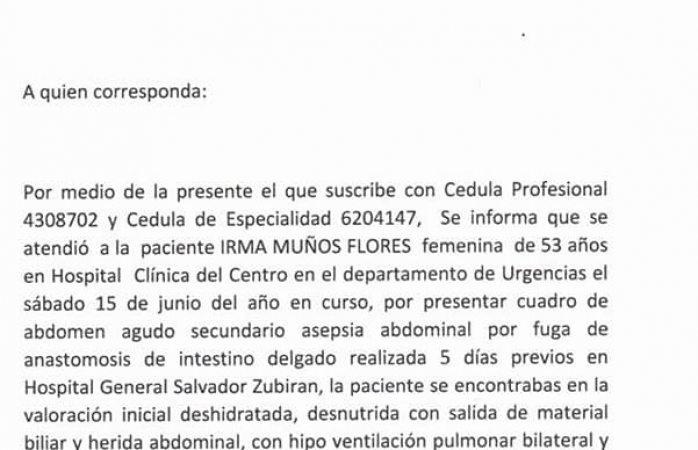 Piden apoyo para atención a paciente internada de urgencia
