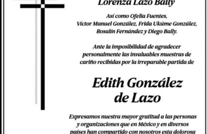 Lorenzo Lazo viudo de Edith González agradece apoyo recibido