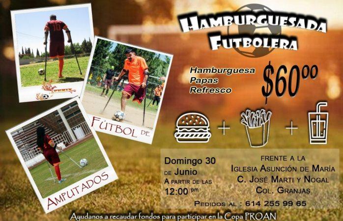 Invitan a hamburguesada a beneficio de equipo de fútbol de amputados