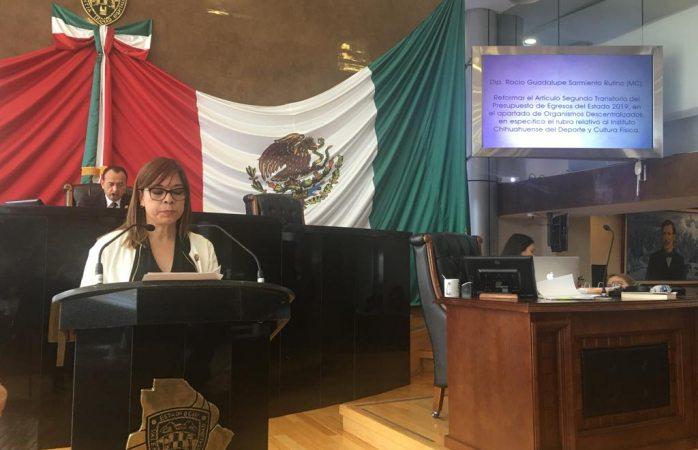 Presupuesto al deporte excluye a deportistas en formación: diputada Sarmiento