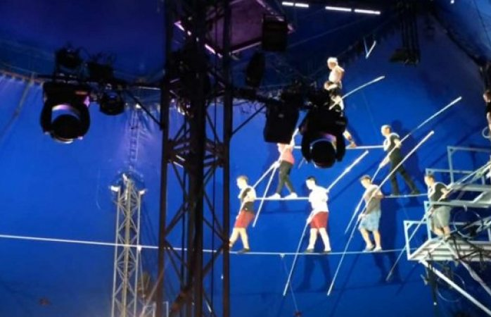 Difunden terrible video de la caída de equilibristas en circo de EU
