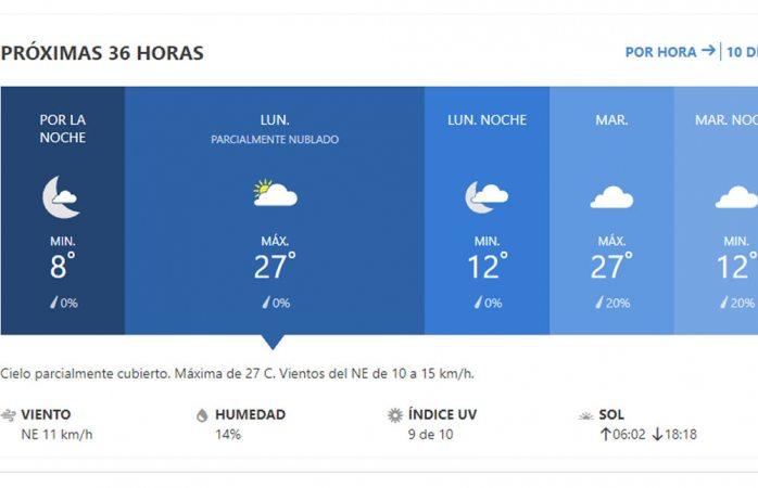 Se pronostica lunes parcialmente nublado con máxima de 27° C