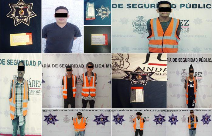 Detienen a nueve narcomenudistas